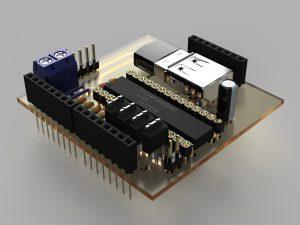 自作Arduinoシールド アイソメ①(3DCADモデル)