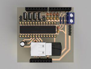 自作Arduinoシールド 平面視(3DCADモデル)