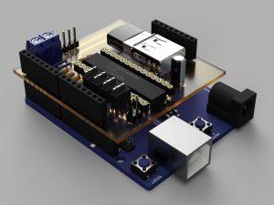 クアッドコプター自作制御基板①(3DCADモデル)