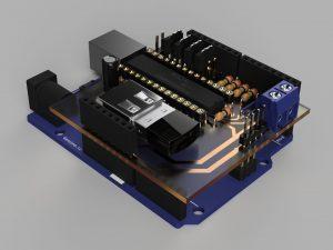 クアッドコプター自作制御基板③(3DCADモデル)